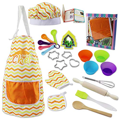 Real Kids Baking Set for Girls – 27 Pcs Gift Set Includes Kids Apron, Chef Hat, Oven Mitt, Real Baking Tools and Recipes for The Curious Young Junior Chef