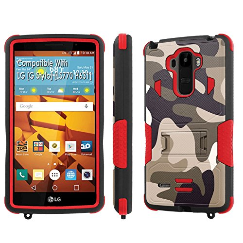 LG [G Stylo] Tough Case [SlickCandy] [Black/Red] Hybrid Combat [Kick Stand] [Shock Proof] Phone Case - [Patriot Camouflage] for LG [G Stylo] [LS770 H631] -  SlickCandy for LG [G Stylo], P-LGLS770-1E1-BKRD-VRI-P107