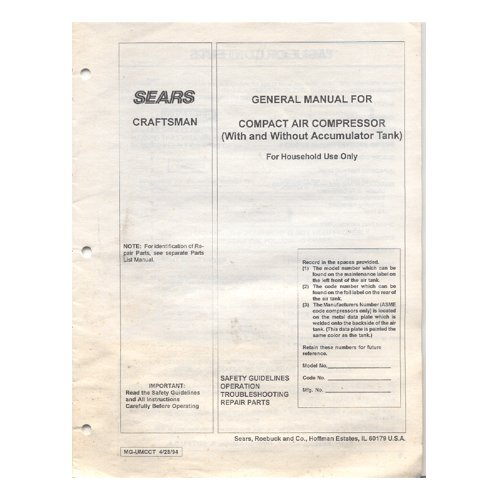 Original 1994 Sears Craftsman Compact Air Compressor Model No. 919.150390 User Manual Form MG-UMCCT