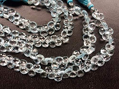 GemAbyss Beads Gemstone 1 Strand Natural Blue Topaz Faceted Heart Briolettes, Original Blue Topaz Necklace, 7mm 8 Inch Long Long Code-MVG-19313