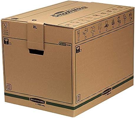 BANKERS BOX SmoothMove Cajas de transporte y mudanza súper resistentes, doble espesor, con asas, no necesita