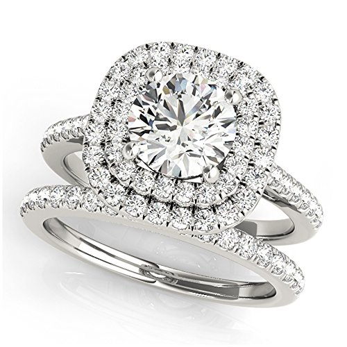 14K White Gold Unique Wedding Diamond Bridal Set Style MT50984