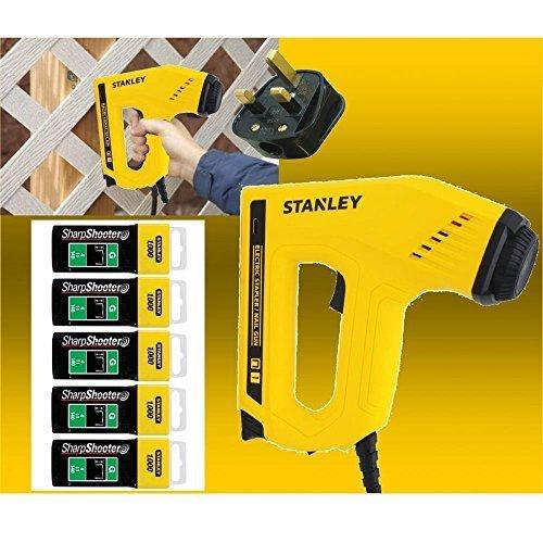 Stanley Electric Staple Nail Gun Stapler Nailer Tacker 0-TRE550 + 5000...