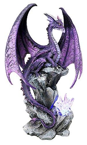 (Ebros Large Hoarfrost Twilight Dragon Guarding LED Night Light Crystal Elements Statue 18