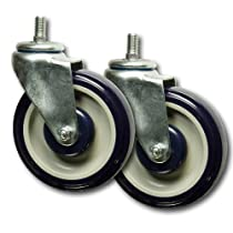 5 Inch Polyurethane Shopping Cart Casters Set of 2