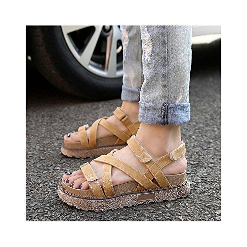 Plateforme OCHENTA Lanière Femme Velcro Abricot Confortable Sandales Epais Eté FFEgrY