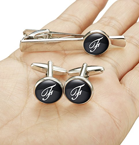 Jstyle Tie Clip and Cufflink Set for Mens Tie Bar Clips Cufflinks Shirt Wedding Business with Gift Box,Alphabet A-Z (Alphabet F) by Jstyle (Image #4)