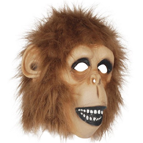 OvedcRay Adult Monkey Ape Gorilla Jungle Pet Animal Costume Latex Mask Brown W/ (Bloody Sock Monkey Costume)