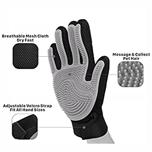Flexzion Pet Grooming Glove Right Hand 1 Piece - Gentle Efficient Touch Deshedding Brush Hand Glove Hair Remover Mitt Massage Tool with Soft Rubber Tips for Dog Cat Horses with Long Short Fur (Gray)
