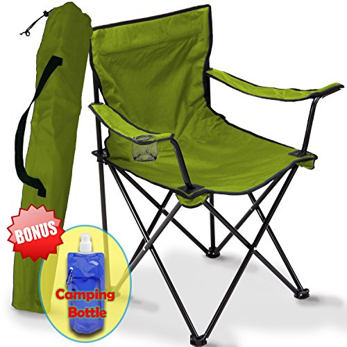 Folding Camping Chair, Portable Carry Bag for Storage and Travel, Best Durable Outdoor Quad Beach Chairs, Comfortable Arms,