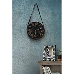 Thanksgiving Gifts Decorative Round Wooden Wall Clock Bohemian Rustic Country Style Black Brown With Leather Strap 11 Inch Vintage