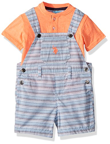 U.S. Polo Assn. Baby Boys T-Shirt and Short Set, Striped with Coral Applique Top Multi Plaid, 24M