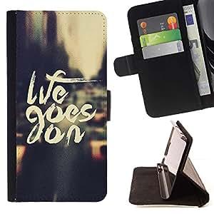 For Sony Xperia Style T3 Case , Life Goes On Nyc Cab texto Vignette City- la tarjeta de Crédito Slots PU Funda de cuero Monedero caso cubierta de piel