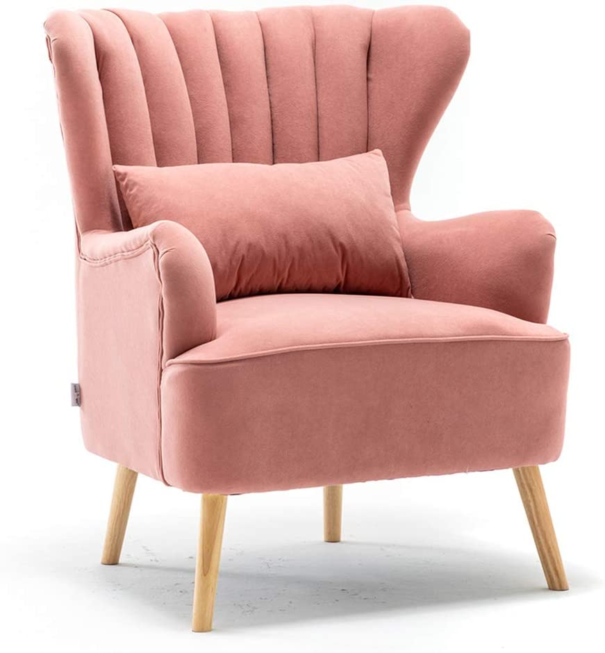 Warmiehomy Modern Velvet Armchair Wing Back Occasional Chair Sofa Lounge Tub Chair Fireside Chair with Footstool Living Room Bedroom Office Furniture (Pink) Pink
