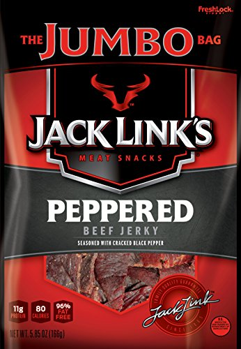 (Jack Link's Beef Jerky, Peppered, 5.85 oz. Sharing Size Bag -Meat Snack with a Pepper-y Kick, 10g of Protein and 80 Calories, Made with 100% Beef - 96% Fat Free, No Added MSG or Nitrates/Nitrites)