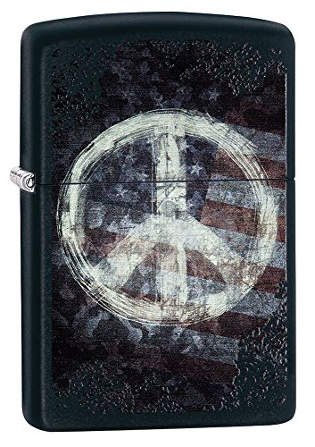 Zippo Peace American Flag Pocket Lighter, Black Matte