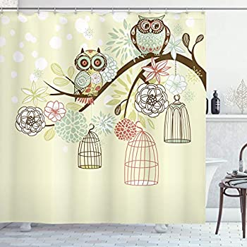 Ambesonne Owls Home Decor Collection, Owl Winter Floral Background Blossoms Owls Out of Their Cages Bird Cage Freedom Image, Polyester Fabric Bathroom Shower Curtain, 75 Inches Long, Olive Blue Pink