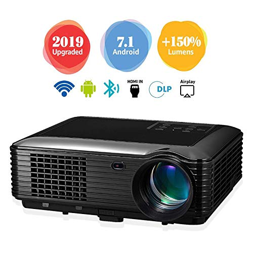 Projector, Home Theater, Built-in Android System LED HD Projection, Suitable for Video TV Movies, Home Theater, Party Games, Outdoor Entertainment with HDMI USB AV Interface and Remote Control,Black