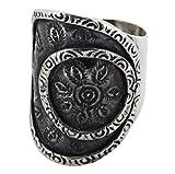 M/s Gajraj Vintage Round Circle Flower 925 Silver Thumb Ring, US-7