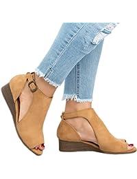 Womens Cut Out Wedge Sandals Espadrille Peep Toe Ankel Strap Low Heel Sandals
