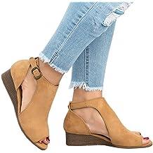 Womens Open Toe leather Gladiator Sandal low heel dress shoe Ankle Buckle Flat