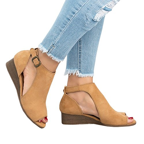 PiePieBuy Women's Cut Out Espadrille Platform Wedge Sandals Ankle Strap Peep Toe Suede Shoes Brown