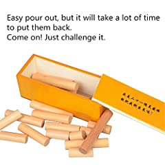 Made of wood. It looks simple at your first sight,but when it take apart you will feel very puzzle to reassemble. Be patience to play it. Lots of fun when you finally find the way to resolve the puzzle. The solution to this puzzle rests in a ...