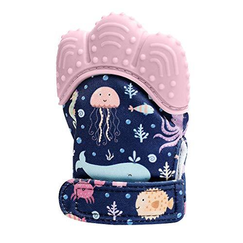 Willsa New Design Seaword Baby Silicone Mitts Teeth Mitten Molars Glove Wrapper -