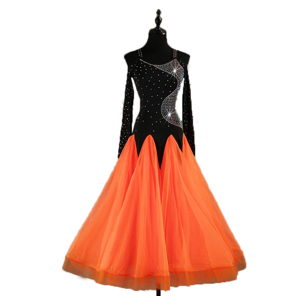 LONGTAO 社交ダンス競技ドレス 豪華モダン正装ドレス ダンスウェア演奏会 舞台衣装 キラキラワイヤーストーン飾 (オレンジ, L) B07K2NPHBY XL|オレンジ オレンジ XL