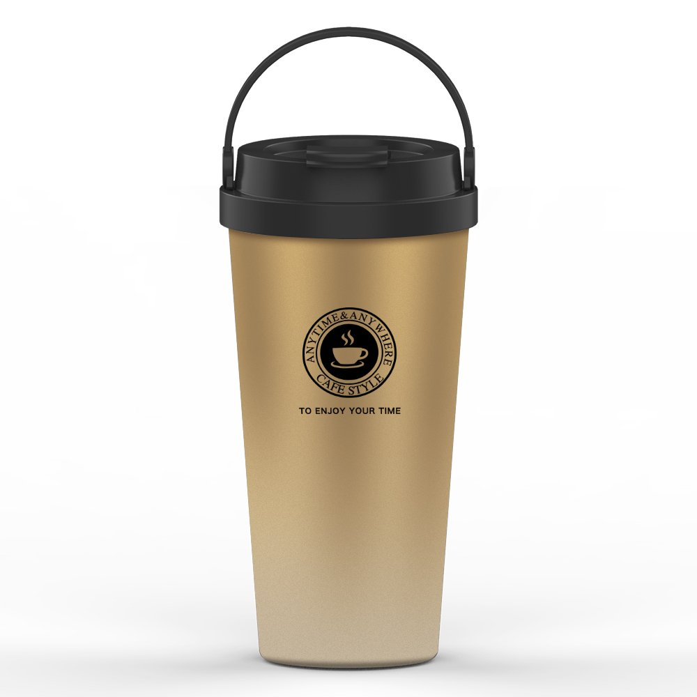 Etzion Sports Water Bottles, Vacuum Insulated Stainesless Steel Water Tumbler, Leakproof Wide Mouth Coffee Bottle for Home, Office and Outdoor Hiking Biking - Gold