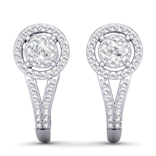 Dazzlingrock Collection 0.50 Carat (ctw) 18K Round White Diamond Ladies Double Frame Halo Style Hoop Earrings 1/2 CT, White Gold
