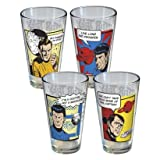 Star trek pixel art 4 glass set featuring kirk, spock Bones and Gorn
