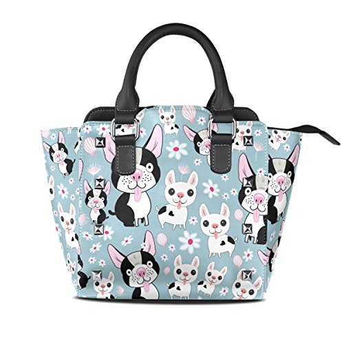 COOSUN Patrón mujeres divertidas perro PU cuero Bolsa de hombro asa superior del totalizador del bolso del bolso de Crossbody Medio Multicolor