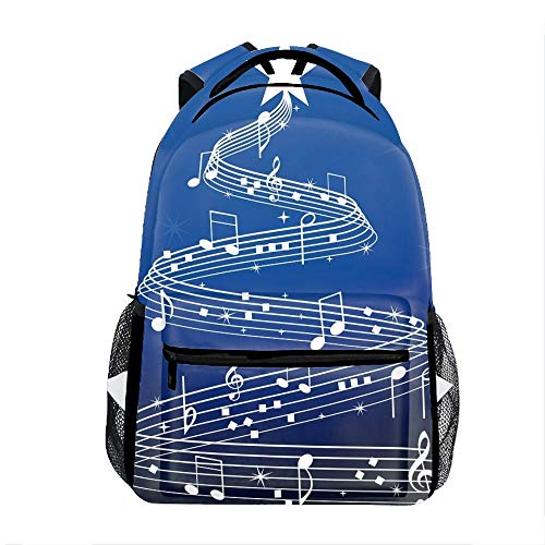 - Casual Backpack Musical Tree Christmas Print School Bag Travel Backpacks