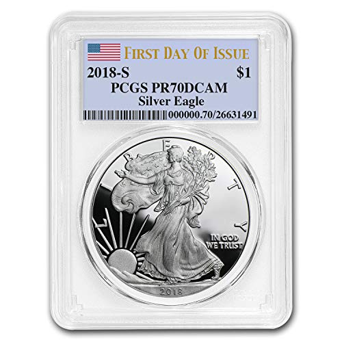 2018 S 1 oz Proof Silver American Eagle PR-70 PCGS (First Day) 1 OZ PR-70 PCGS