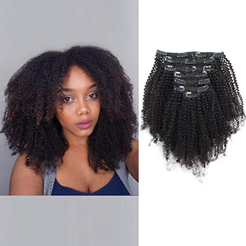 Beauty : AmazingBeauty Double Weft 8A Grade Big Thick 4B 4C Afro Coily Clip Ins for African American Black Women, Real Remy Human Hair, Natural Black, 120 Gram, A4C 18 Inch