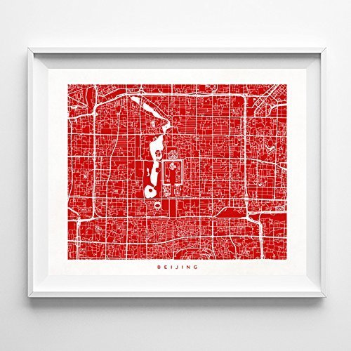 Beijing Print Poster (Beijing China Street Road Map Poster Wall Art Print [ 70 COLOR CHOICES ] Modern City Art Urban Home Decor Unique Artwork UNFRAMED)