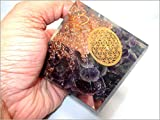 Jet Amethyst Flower of Life Orgone Pyramid Ions Generator 2.5 inch Natural Charged EMF Harmonizer Energy Chakra Gemstone Jet Crystal Therapy Booklet Hand Carved Aura