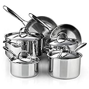 Cooks Standard Classic Stainless Steel Cookware Set, 10- Pieces, Silver 16