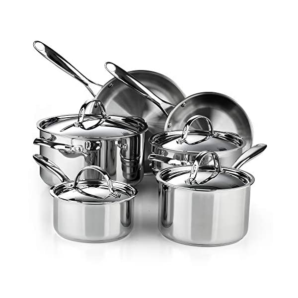 Cooks Standard Classic Stainless Steel Cookware Set, 10- Pieces, Silver 1