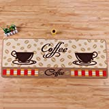 Kitchen Rugs Coffee Cups Afco Cute Coffee Cup Design Soft Small Rug Bedroom Kitchen Anti-slip Mat Carpet - 50cm by 80cm