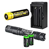 Sunwayman P25C 1000 Lumen CREE XM-L2 U2 LED long throw tactical flashlight with Nitecore NL183 rechargeable 18650 li-ion Battery, charger and 2 X EdisonBright CR123A Lithium Batteries Bundle