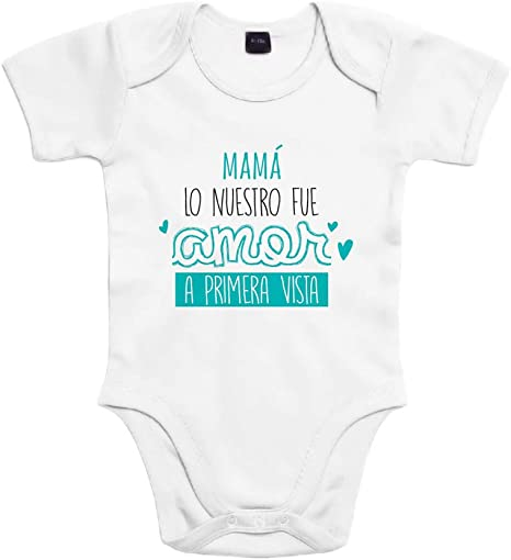 SUPERMOLON Body bebé algodón Mamá, lo nuestro fue amor a primera vista 3 meses Blanco Manga corta: Amazon.es: Bebé