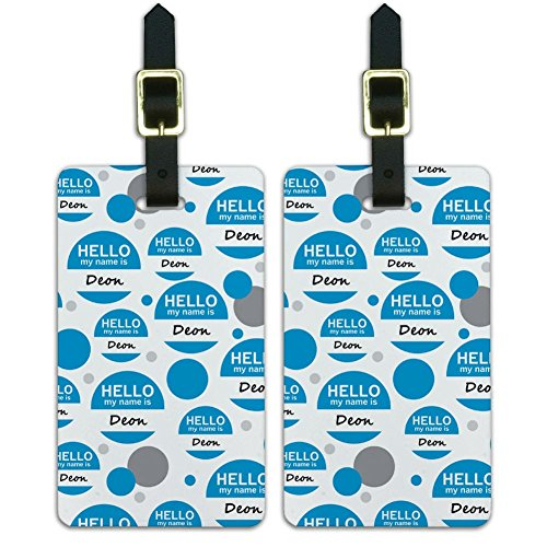 Luggage Suitcase Carry-On ID Tags Set of 2 - Hello My Name Is De-Dy - Deon Hello My Name Is
