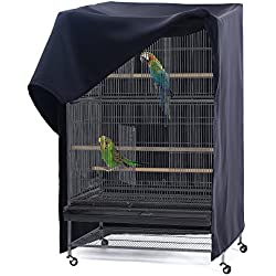 PONY DANCE Pets Product Universial Birdcage Cover Blackout & Breathable Birdcage Cover for Pets' Good Night, Large, Black, 35 L x 25 W x 47 in H