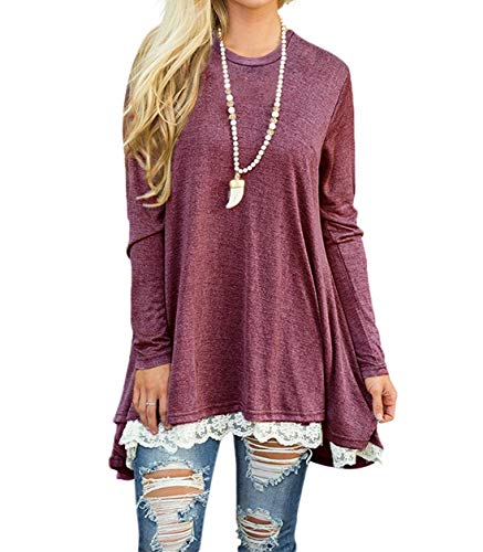 (WEKILI Women's Tops Long Sleeve Lace Scoop Neck A-line Tunic Blouse Red L/US)