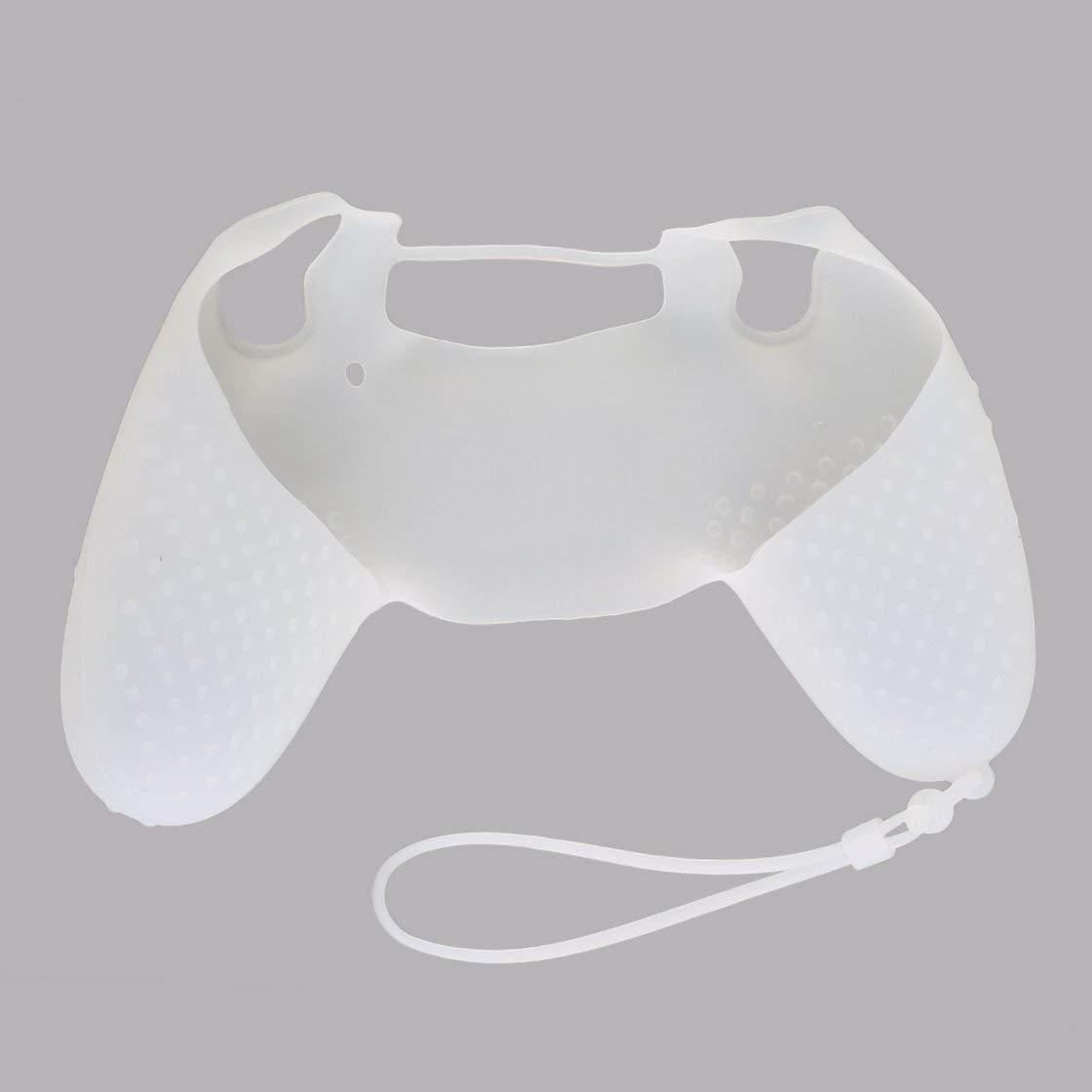 Funda protectora de piel suave de silicona de dise/ño /único con cuerda manual para controlador SONY PS4 camuflaje negro