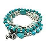 JADE POP - Women's Multicolored Beaded Stretch Stackable Chain Bracelet Set with Charm - Turquoise