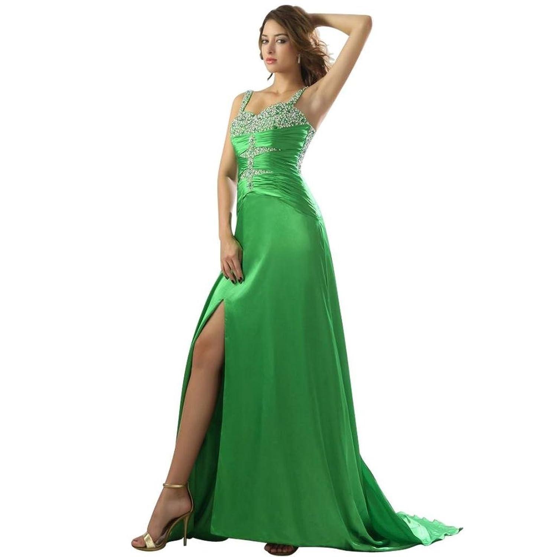 Dearta Women's Sheath/Column V-Neck Sleeveless Watteau Train Prom Dresses