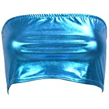b54cbb6056 Flyrose Women s Shiny Metallic Strapless Crop Tube Top Rave Bandeau Bra